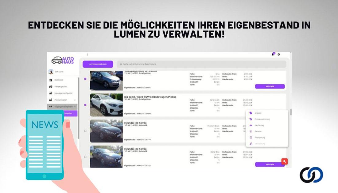 Verwaltung des eigenen Fahrzeugbestandes in Lumen